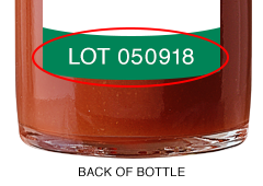 Image of the lot number on the bottle