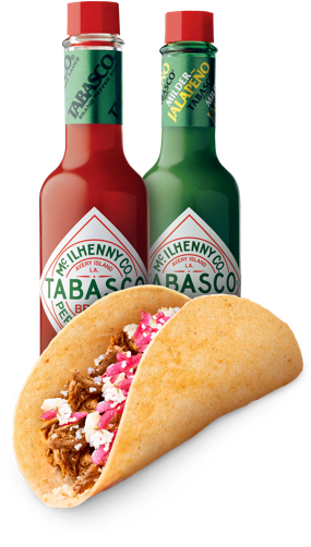 TABASCO® Pepper Sauce & TABASCO® Green Jalapeno Sauce with a taco