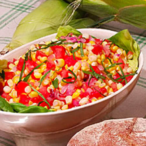 Corn, Beefsteak Tomato and Red Onion Salad