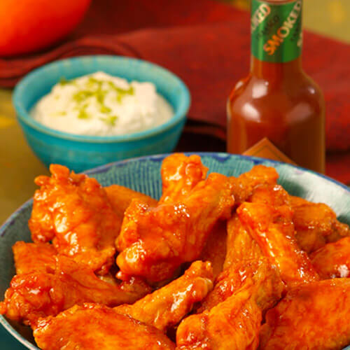 Chef Robert McGrath's Honey-Orange Chipotle Chicken Wings with Cotija Dressing