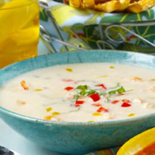 Chilled Confetti Corn & Shrimp Soup