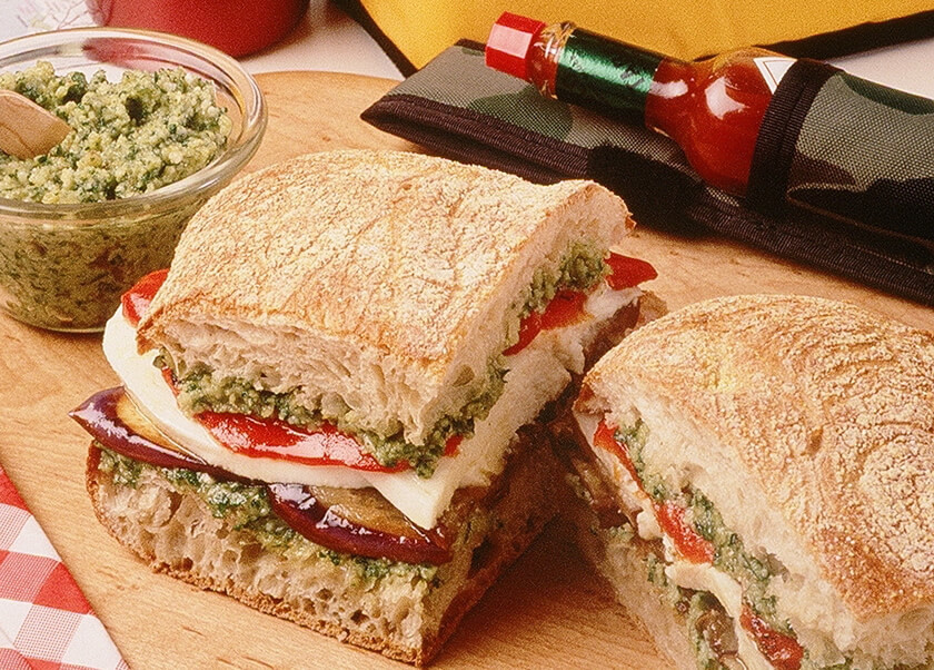 Eggplant and Mozzarella Sandwiches with Pesto Spread
