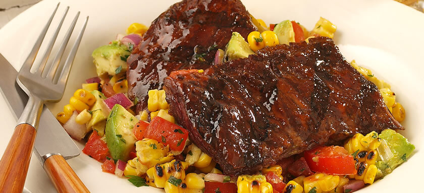 Grilled Skirt Steak with Roasted Corn Salad