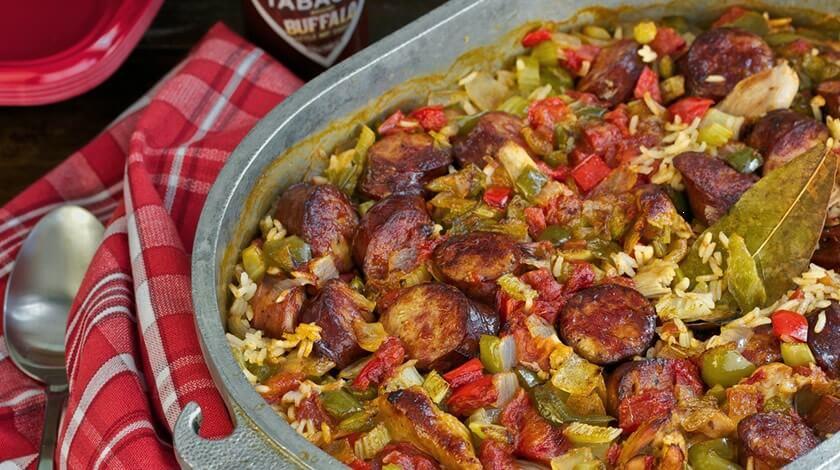 Buffalo Chicken & Sausage Jambalaya