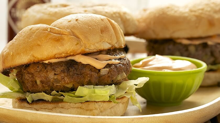 Grilled Burgers Buffalo Style