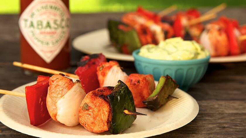 Appetizer Chicken Skewers with Avocado Cream Dip
