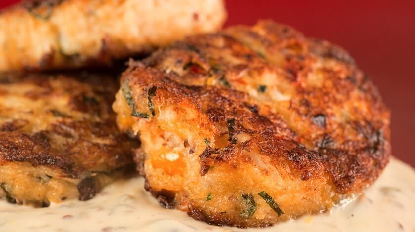 Basil Crab Cakes with Spicy Mustard Tartar Sauce