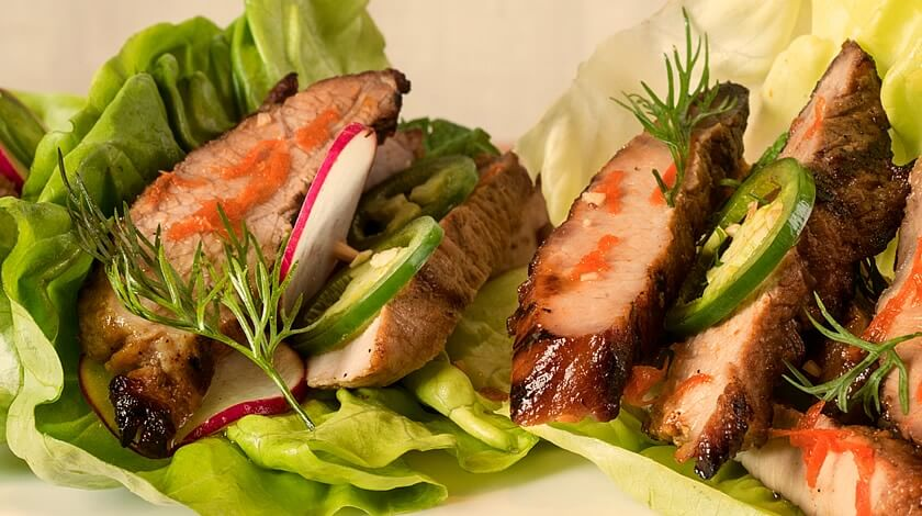 Grilled Pork Lettuce Wraps with Spicy Honey