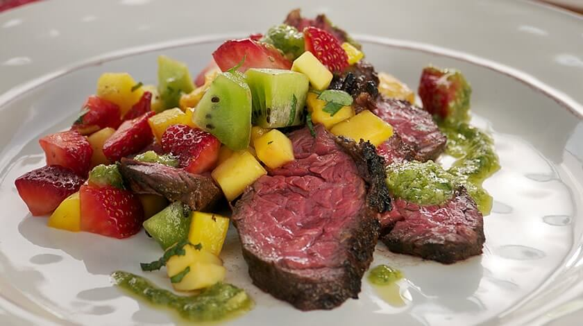 Chipotle Ginger Hanger Steak with Spicy Fruit Salsa