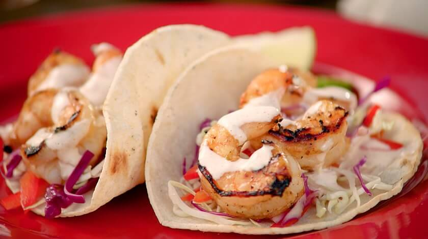 Lime-Grilled Shrimp Tacos with Chipotle Crema