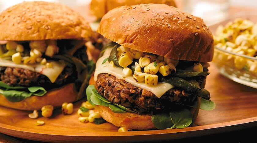 Smoky Black Bean Burger with Corn Relish