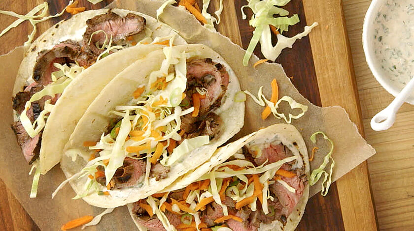 Spicy Steak Tacos with Chipotle and Lime Yogurt Dressing