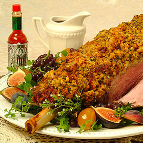 Leg of Lamb With Zesty Mustard Crumb Crust