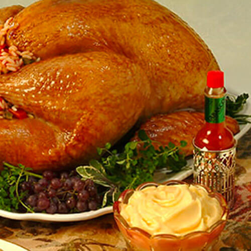 Brined Turkey With Creole Rice Stuffing