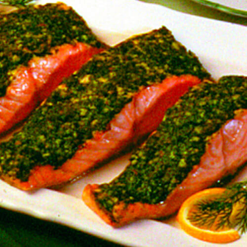 Salmon With Parsley-Almond Pesto