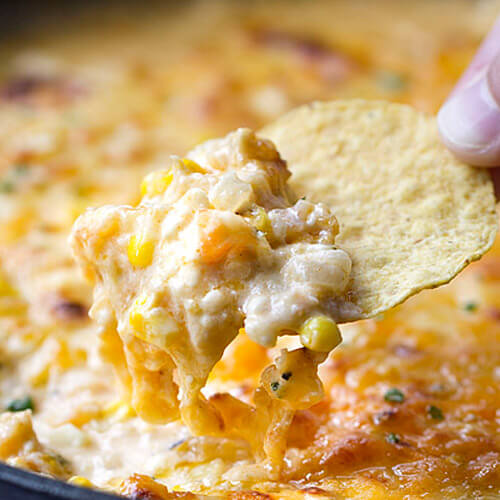 Cheesy Chipotle Shrimp and Corn Dip