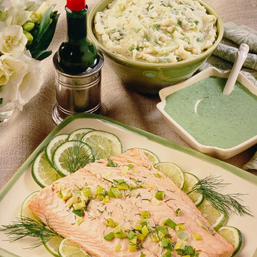 Salmon Fillet With Leeks and Dill with Green Garden Dressing