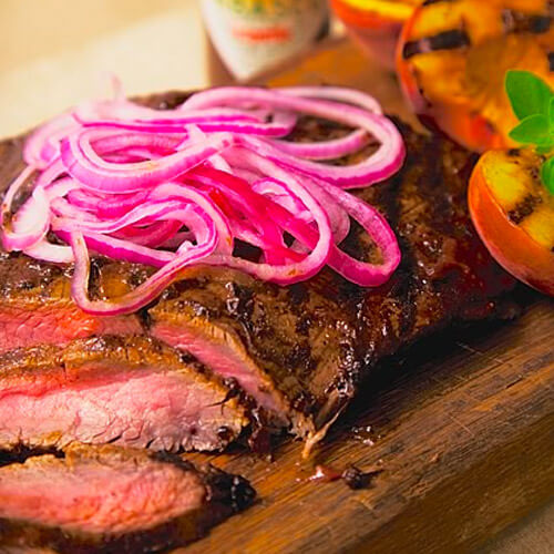 Grilled Flank Steak With Peach-TABASCO® BBQ Sauce & Pickled Red Onions