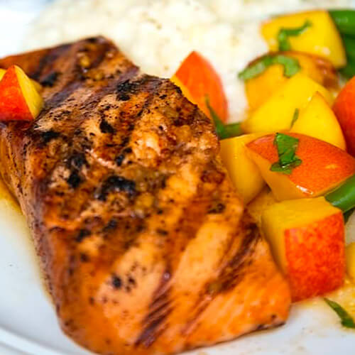 Barbequed Salmon With Fresh Corn Grits & Chipotle Nectarines