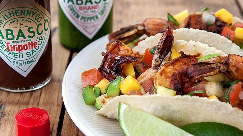 Chipotle & Garlic Shrimp Tacos with Mango Salsa