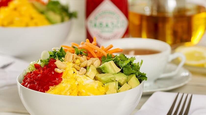 Sriracha Vegetable Fried Rice Breakfast Bowls