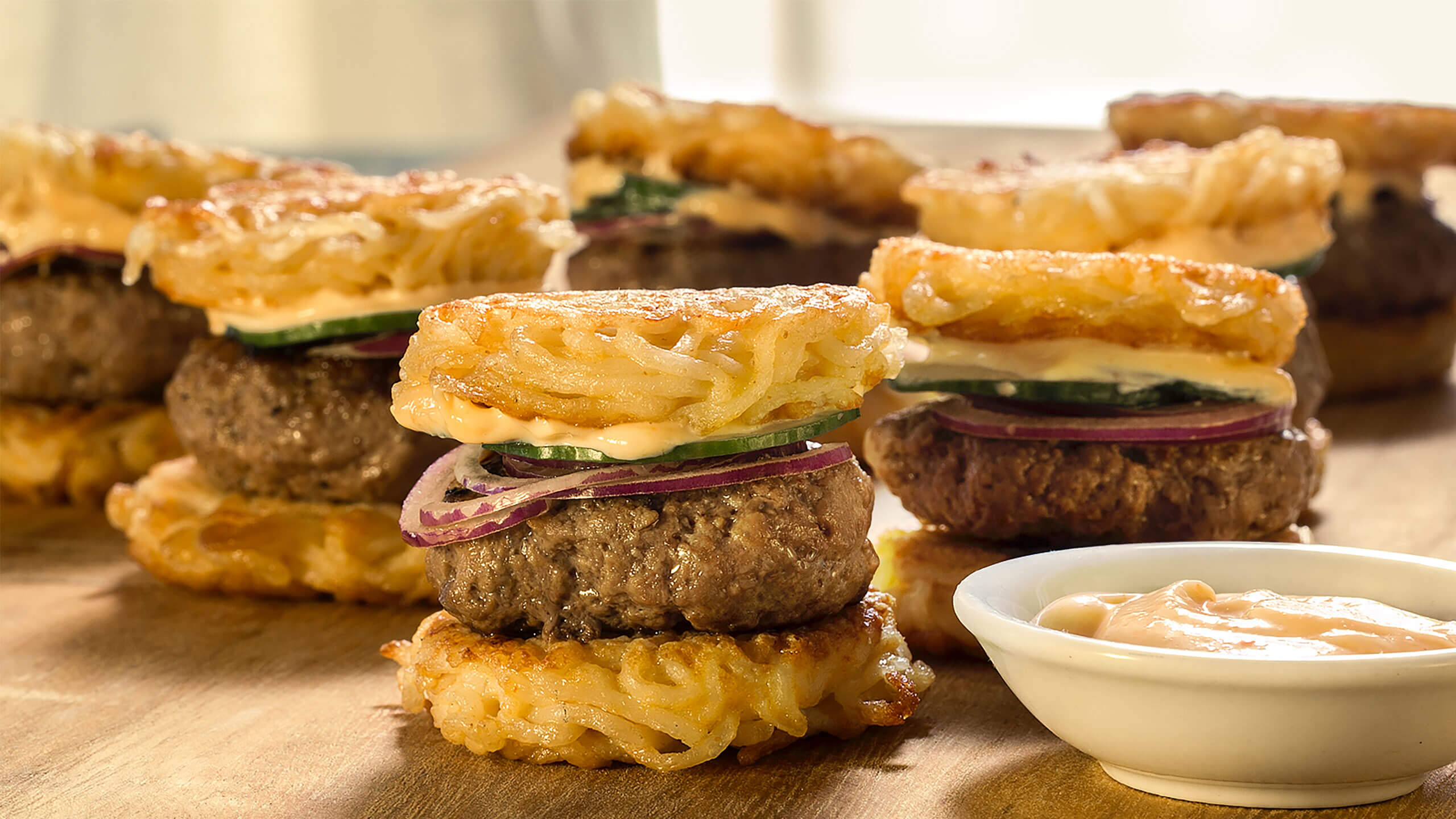 Sriracha Ramen Burger Sliders with Spicy Mayo
