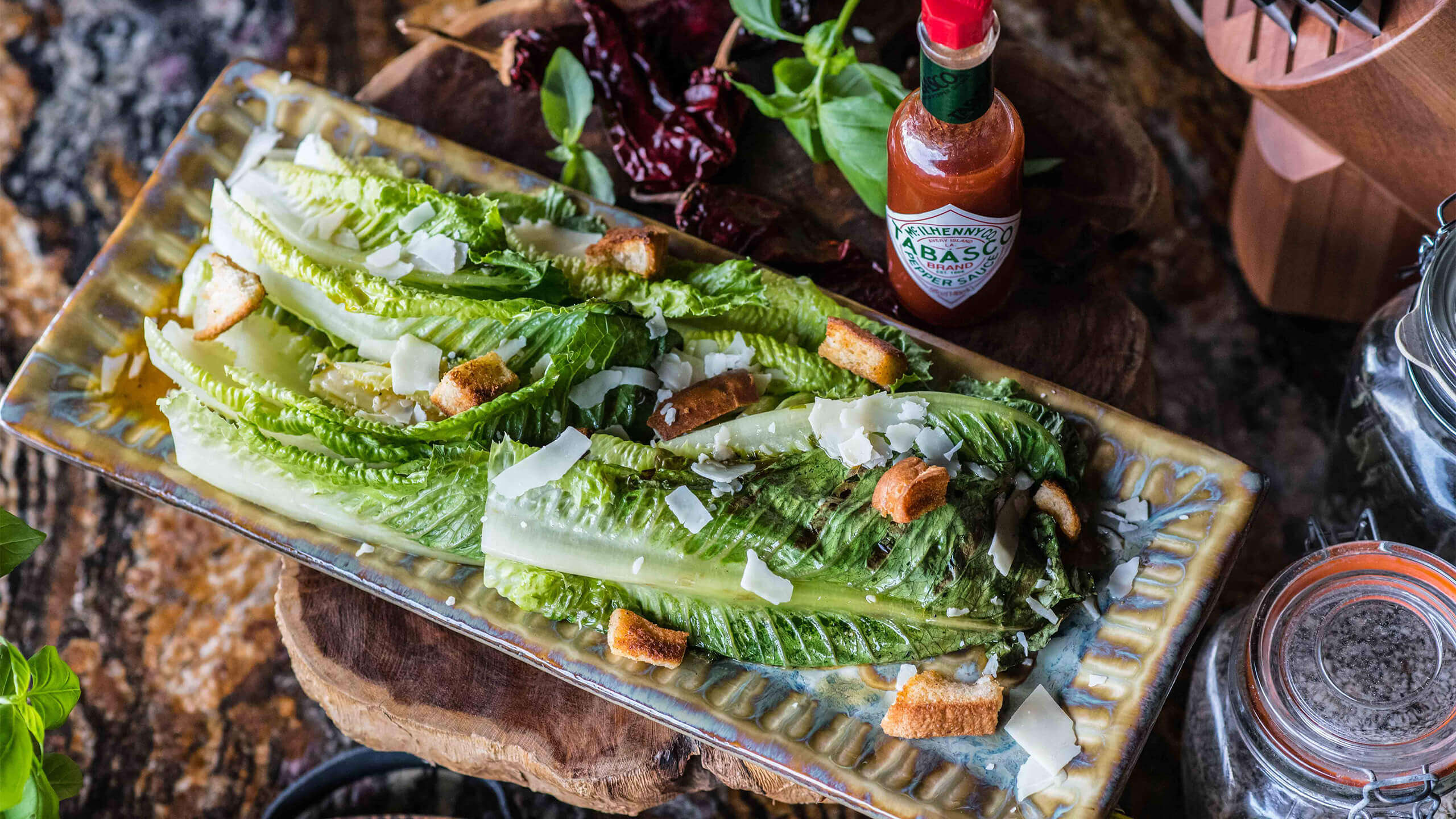 Grilled Romaine Salad with Spicy Vinaigrette