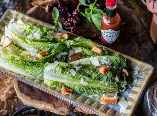 Grilled Romaine with Spicy Vinaigrette
