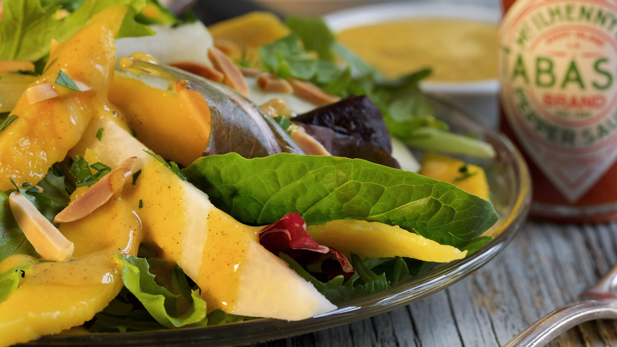 Jicama & Cucumber Green Salad with Mango Vinaigrette