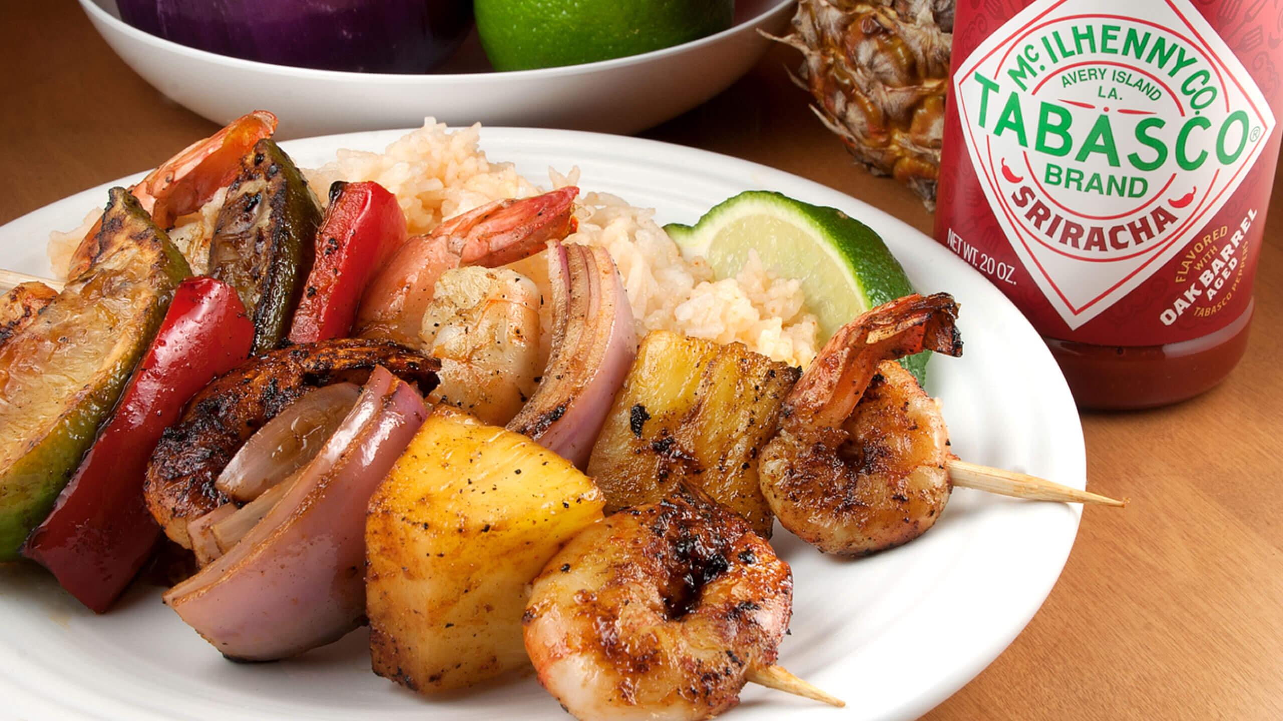 Sriracha-Buttered Shrimp, Pineapple & Vegetable Kebabs
