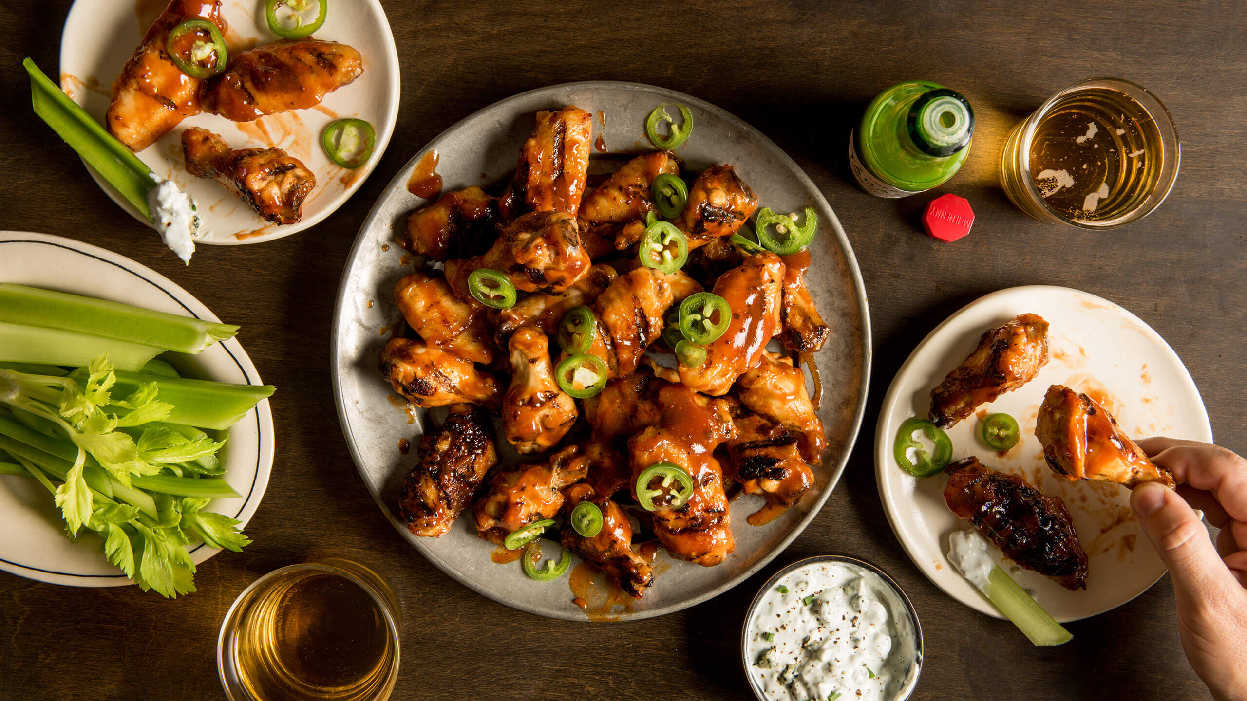 Grilled Chicken Wings with Jalapeño BBQ Sauce
