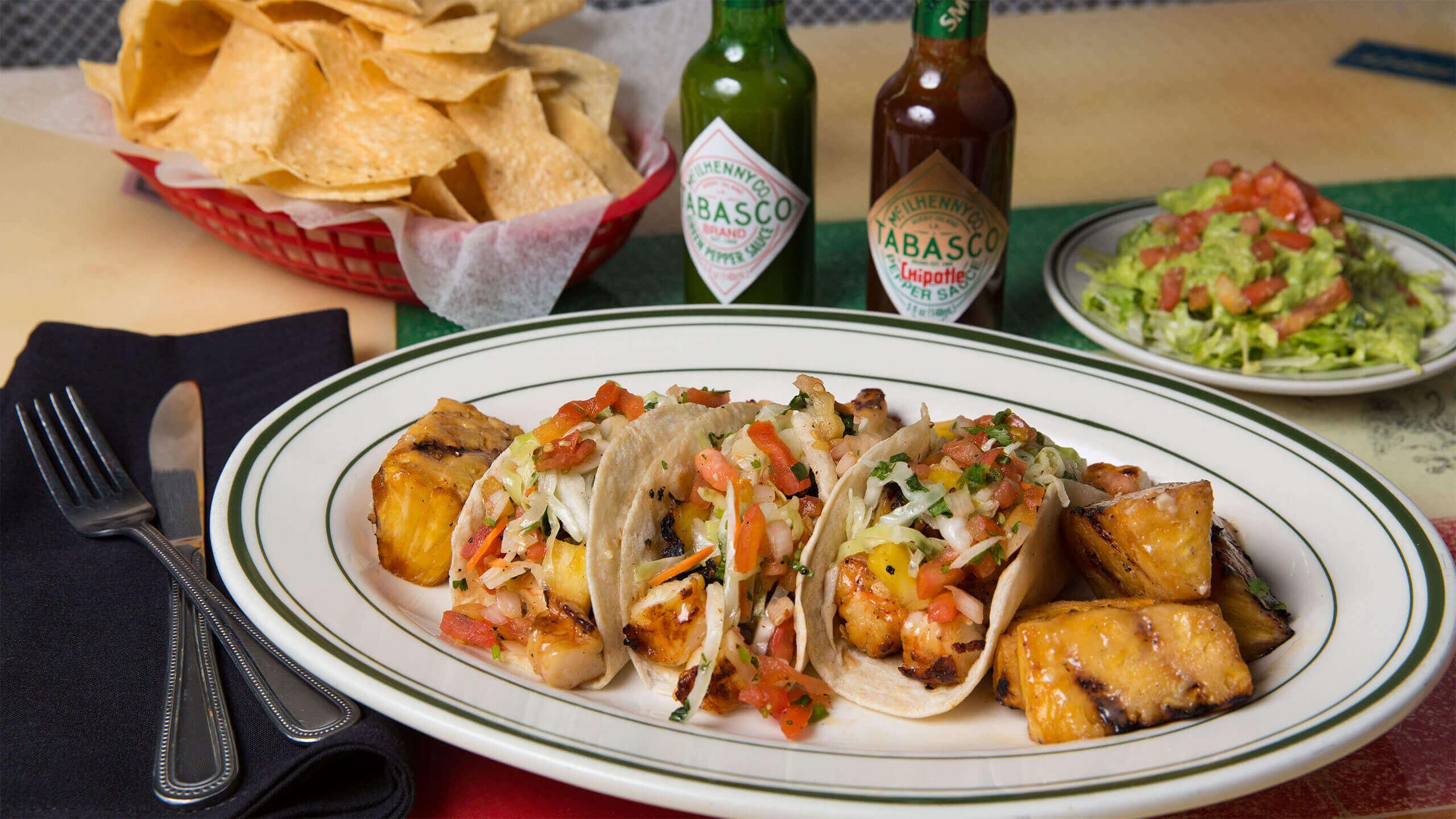 Grilled Shrimp Tacos with Jalapeño Pineapple Slaw