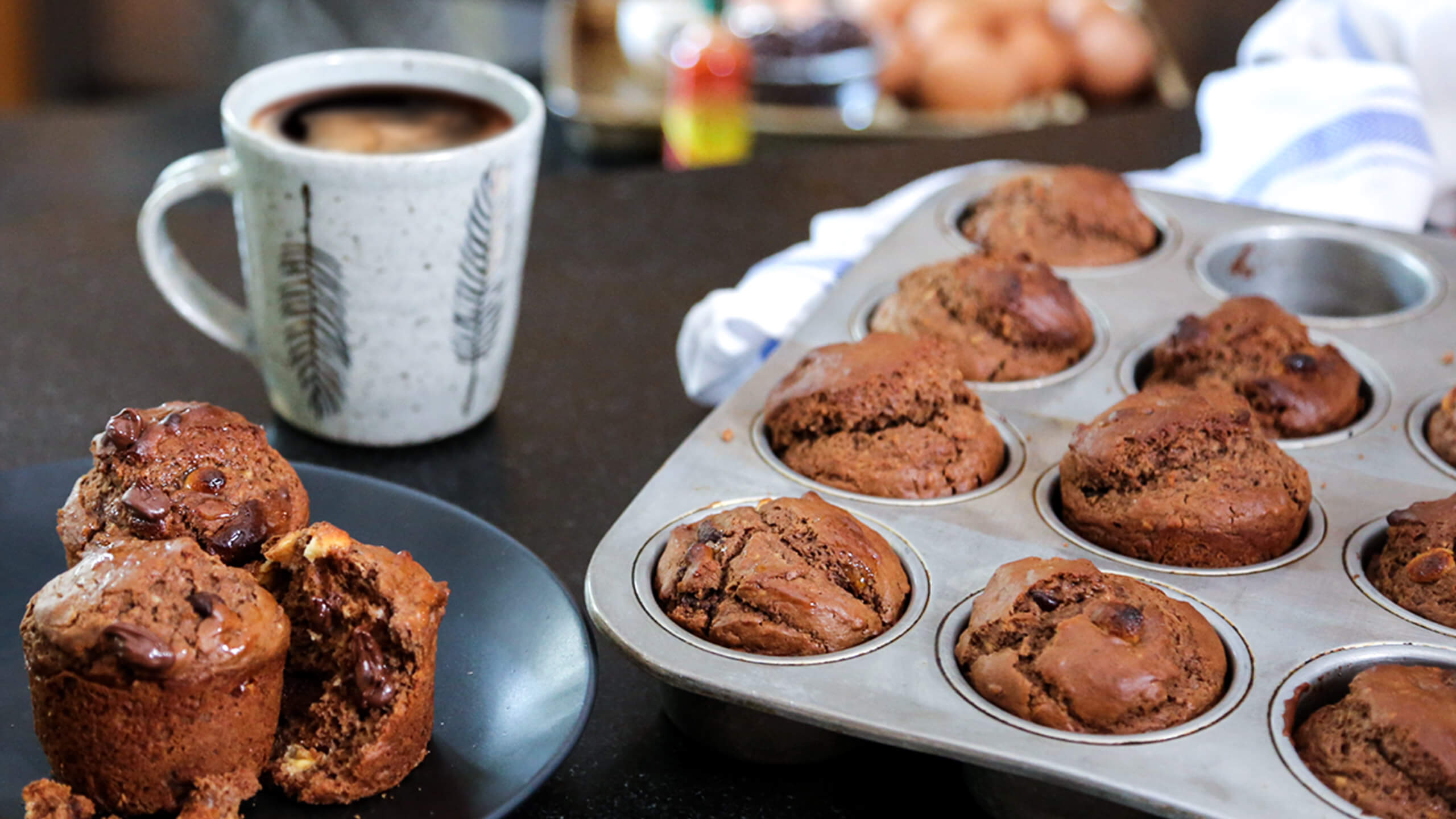 Spiced Double Chocolate Muffins