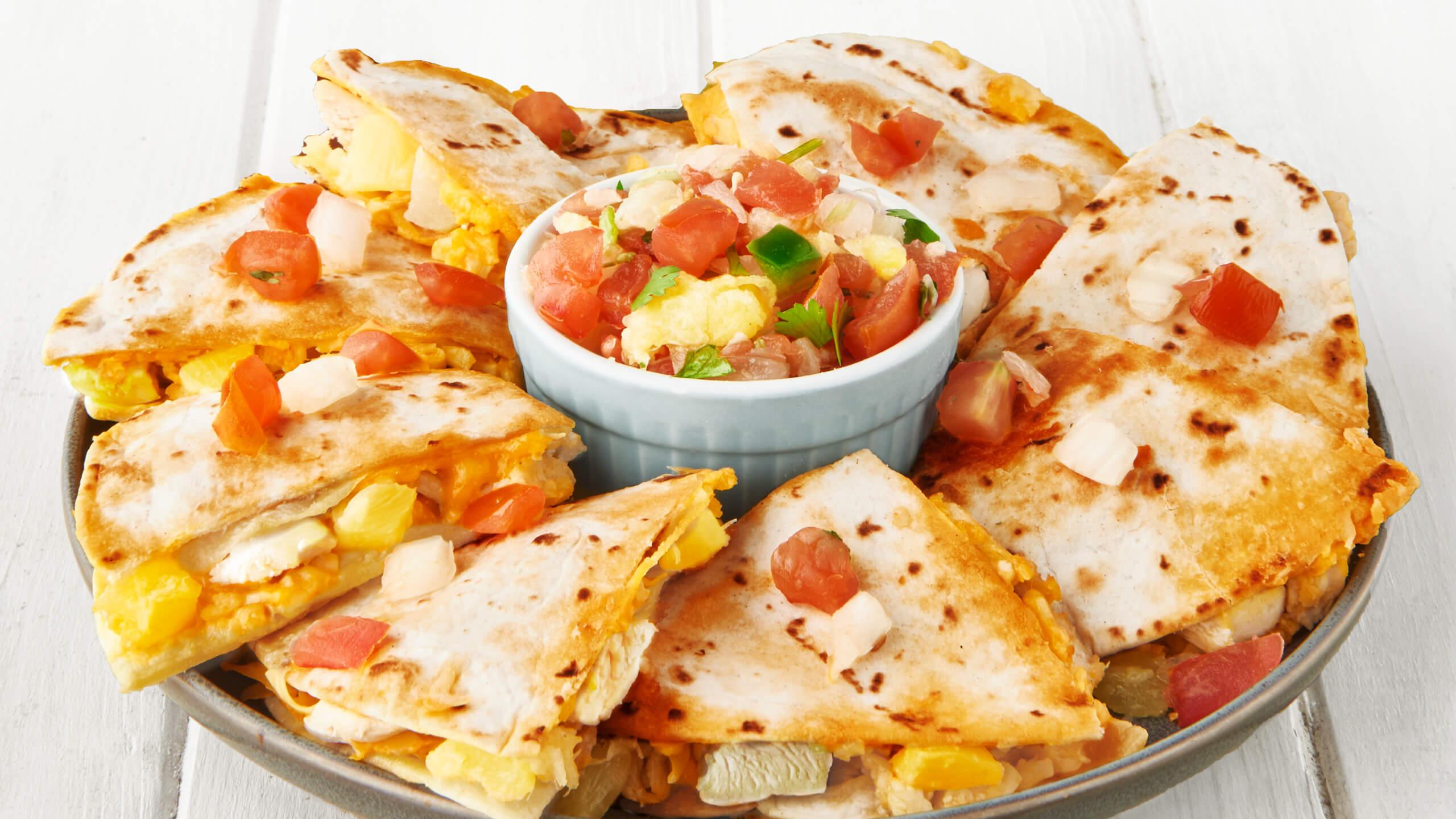 Caramelized Pineapple & Chicken Quesadillas