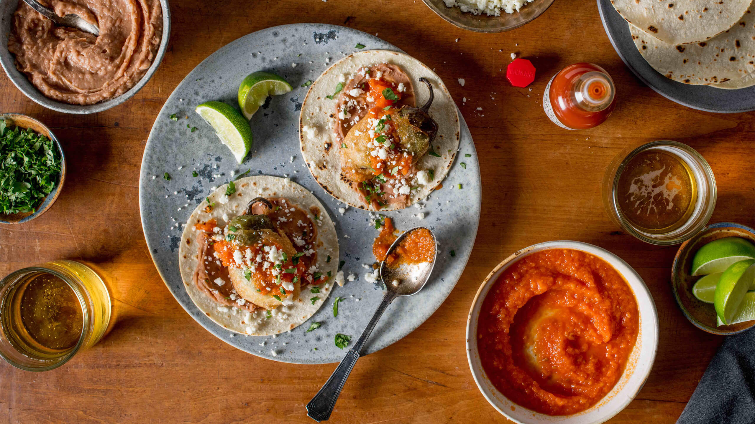 Chicken-Stuffed Chile Relleno Tacos with Spicy Tomato Sauce