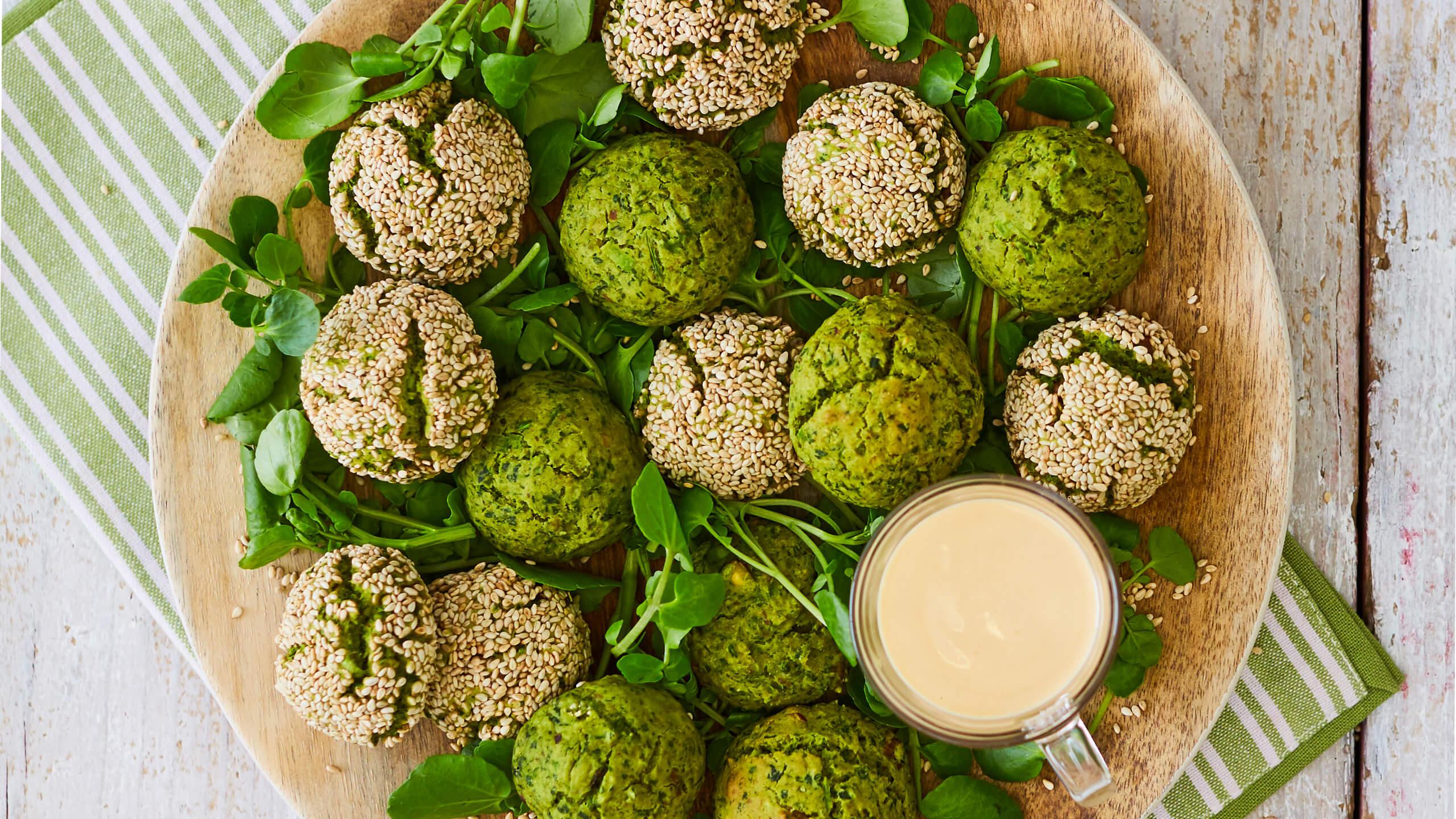 Green Falafel with Tahini Heat Dressing