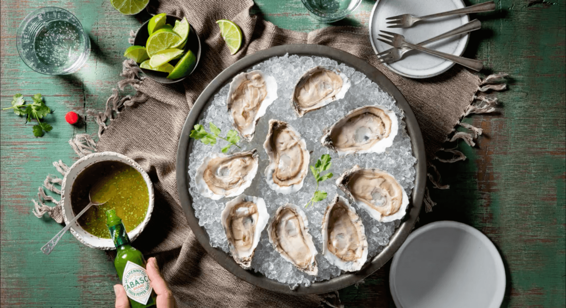 Oysters with Lime, Coriander & TABASCO® Green Sauce