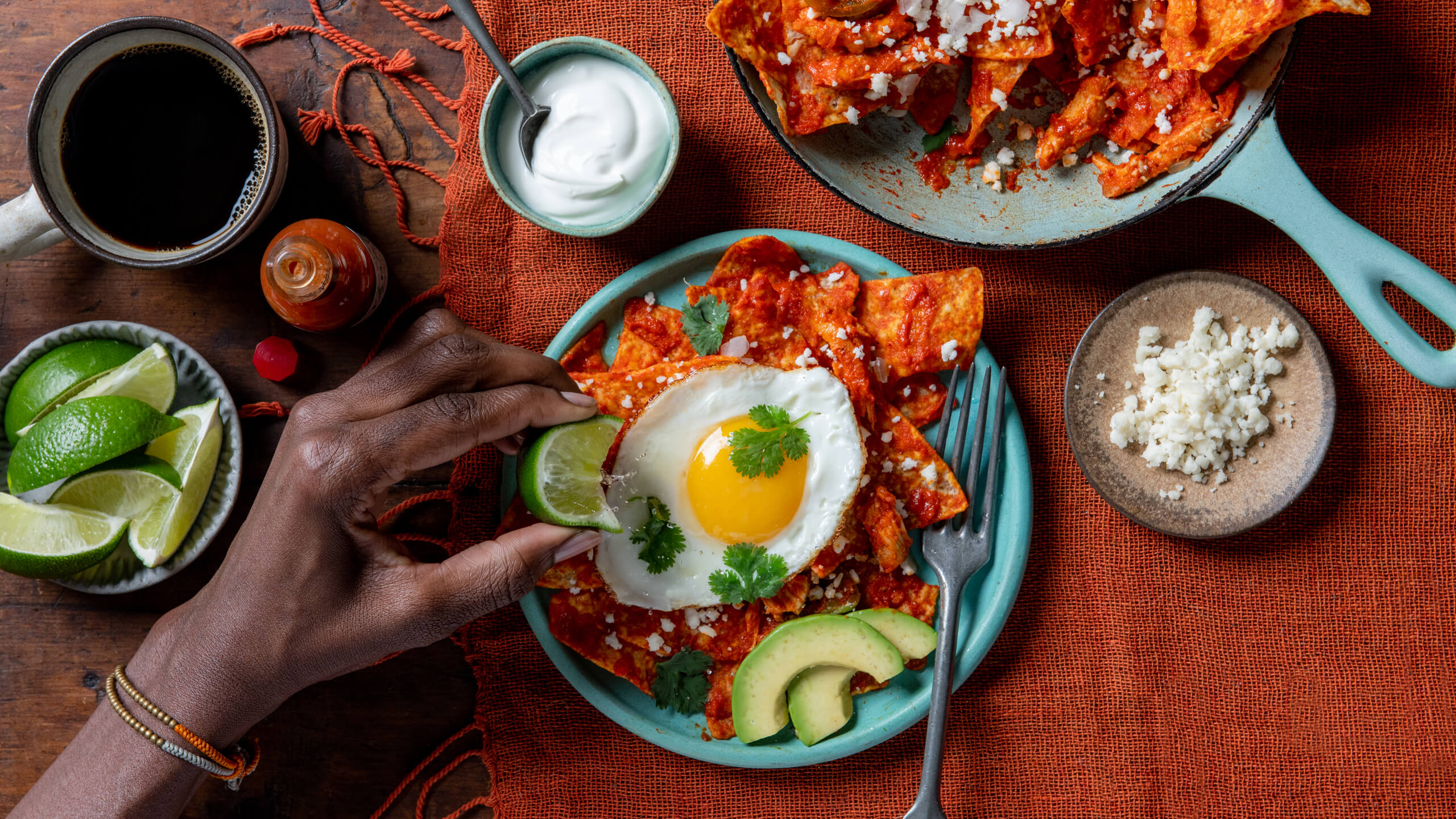 Chilaquiles Rojo with Chicken
