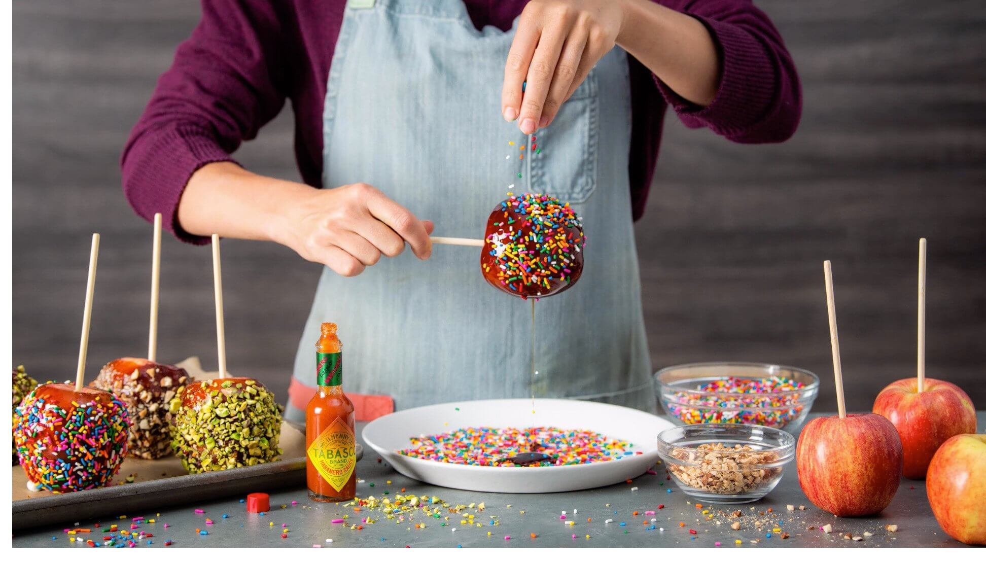 Spicy Decorated Candy Apples