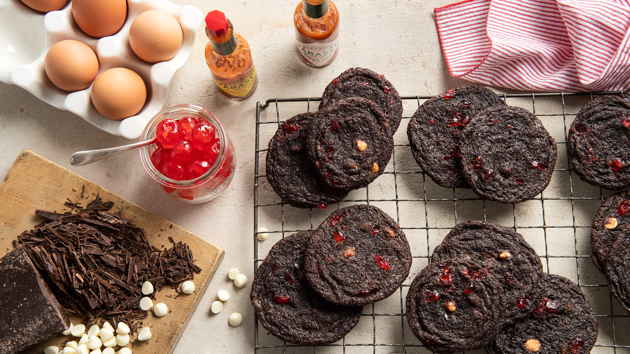 Spicy Cherry and Chocolate Cookies