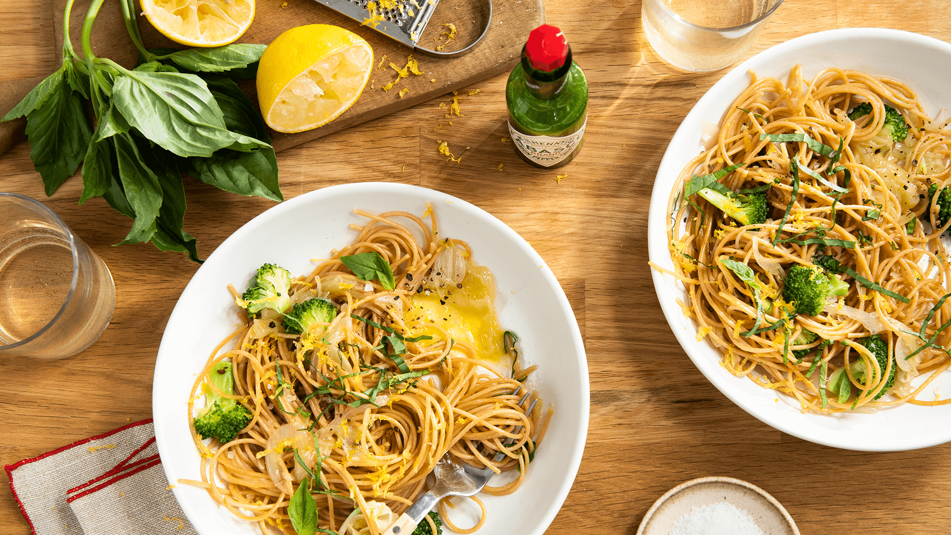 Spicy Whole Wheat Pasta with Broccoli and Lemon