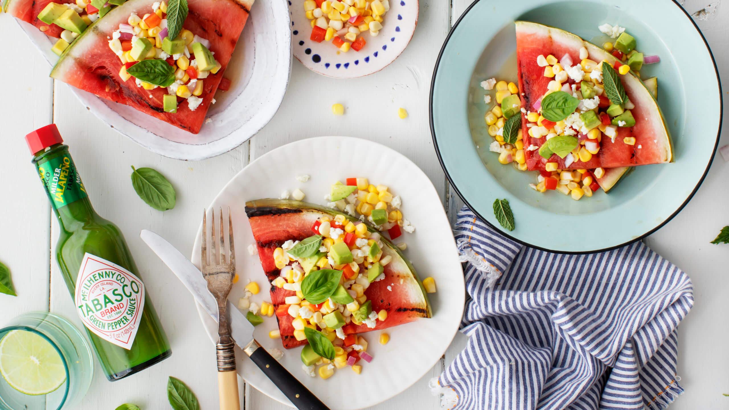 Grilled Watermelon Steaks with Avocado, Corn & Feta