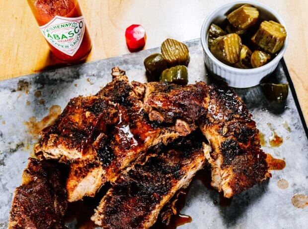 Braised Pork Ribs and Double-Dill Pickles