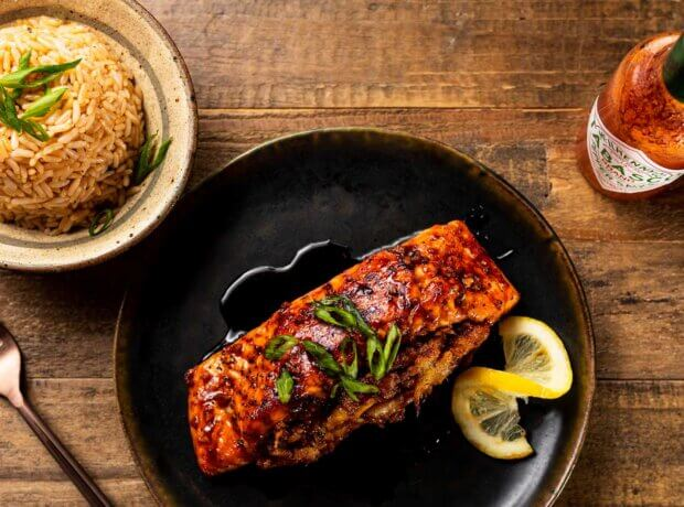Crab-Stuffed Salmon with Honey and Hot Sauce Glaze